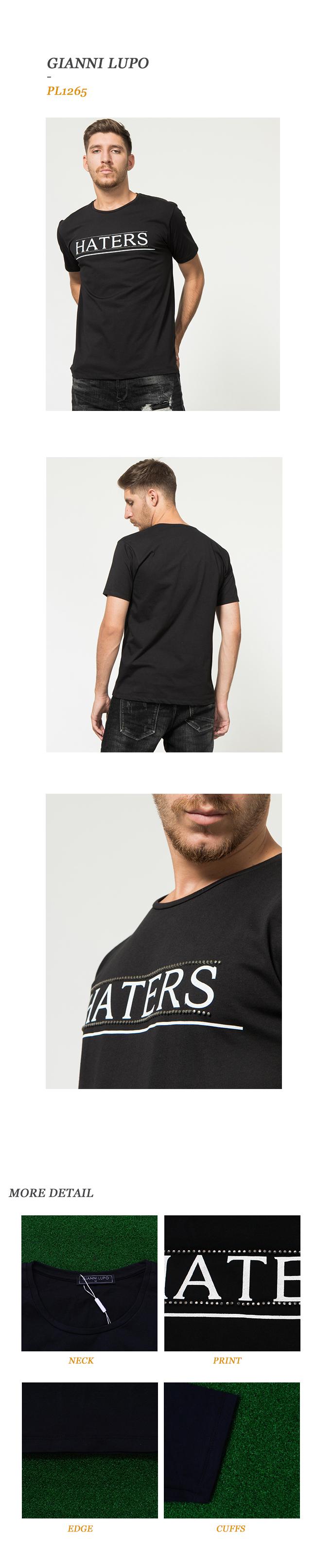 지아니루포(GIANNI LUPO) Pl1265 Haters 스터드 티셔츠(Bk)
