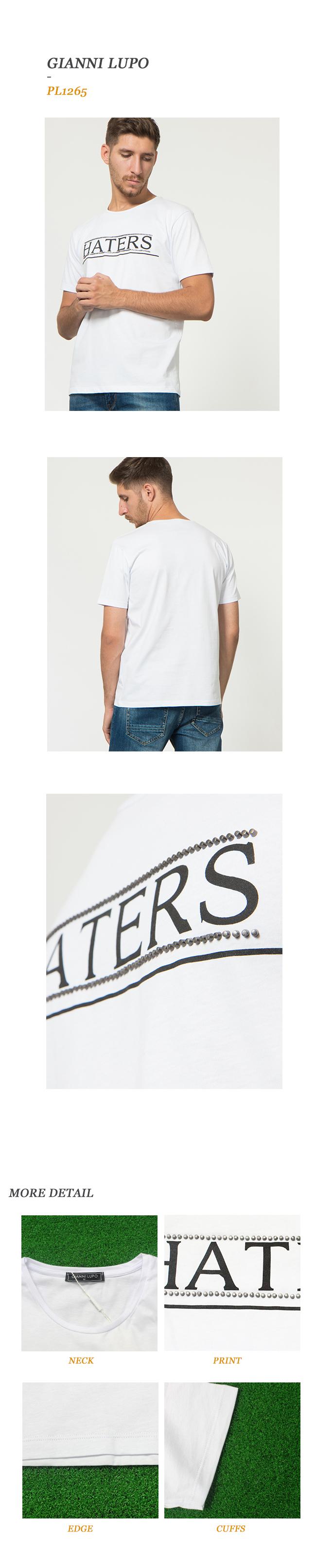 지아니루포(GIANNI LUPO) Pl1265 Haters 스터드 티셔츠(Wh)